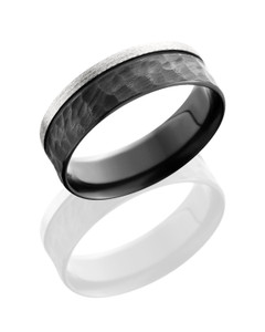 Zirconium 7mm flat band with off center groove