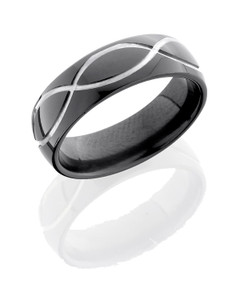 Zirconium 7mm band with infinity pattern
