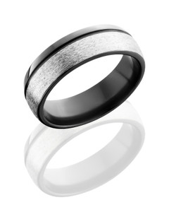 Zirconium 7mm band with off center groove