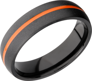 Zirconium 6mm domed band featuring orange Cerakote in groove
