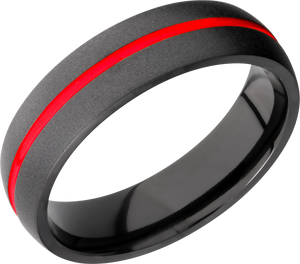 Zirconium 6mm domed band featuring USMC Red Cerakote in groove
