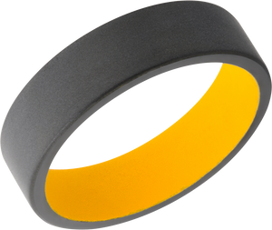 Zirconium 6mm flat band with rounded edges and Dewalt Yellow Cerakote sleeve