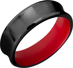 Zirconium 7mm concave beveled band with Smith & Wesson Red Cerakote sleeve