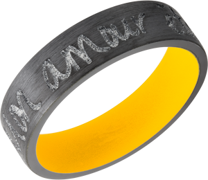 Zirconium 7mm flat band with rounded edges and customized laser carved handwriting and Dewalt Yellow Cerakote sleeve