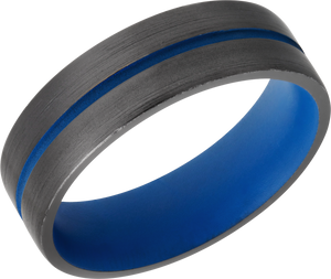 Zirconium 7mm flat band with rounded edges and NRA Blue Cerakote in groove and sleeve
