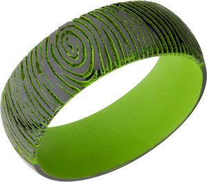 Zirconium 8mm domed band with customized laser carved fingerprint and Zombie Green Cerakote