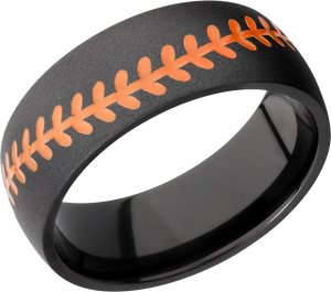 Zirconium 8mm Domed band with baseball pattern and orange Cerakote stitching
