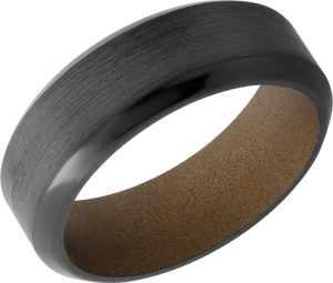 Zirconium 8mm high beveled band with Burnt Bronze Cerakote sleeve