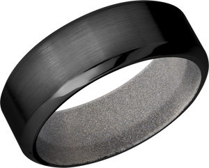 Zirconium 8mm high beveled band with Bright Nickel Cerakote sleeve