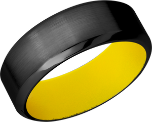Zirconium 8mm high beveled band with Dewalt Yellow Cerakote sleeve
