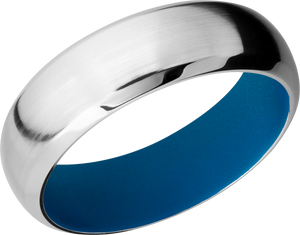 Cobalt Chrome 7mm domed band with sky blue Cerakote sleeve