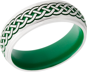 Cobalt Chrome 7mm domed band with grooved edges and laser carved Celtic pattern featuring green Cerakote