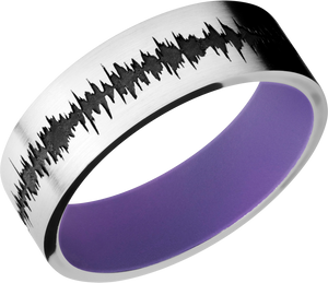 Cobalt Chrome 7mm flat band with customized laser carved soundwave with Bright Purple Cerakote sleeve