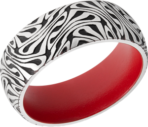 Cobalt Chrome 8mm domed band with laser carved Escher pattern featuring Gross Black Cerakote and Smith & Wesson Red sleeve