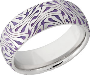 Cobalt Chrome 8mm domed band with laser carved Escher pattern featuring Bright Purple Cerakote sleeve