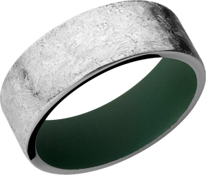 Cobalt Chrome 8mm Flat band with rounded edges and green Cerakote sleeve