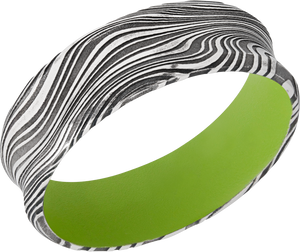 Damascus Steel 7mm concave band with Zombie Green Cerakote sleeve