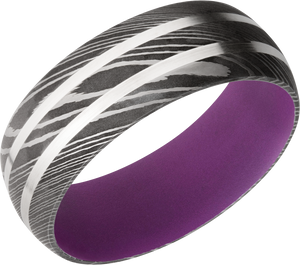 Damascus Steel 8mm domed band featkuring 2 Sterling Silver inlays and Wild Purple Cerakote sleeve