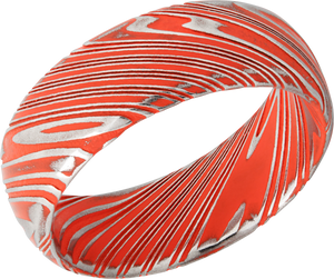 Damascus Steel 8mm domed band with Hunter Orange Cerakote