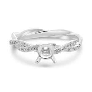Twisted White Gold Engagement Setting