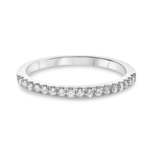 Half Pave White Gold & Diamond Band