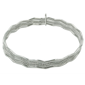 STERLING SILVER MAGNIFICENT WAVE BANGLES