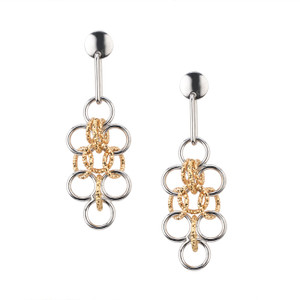 STERLING SILVER YELLOW GOLD PLATED AMELIA EARRINGS