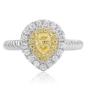 Pear-shaped Braided Diamond Ring