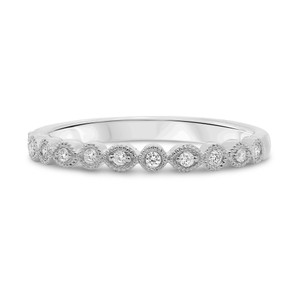 14KT WHITE GOLD DIAMOND MILGRAIN BAND