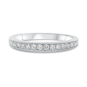 14KT WHITE GOLD MILGRAIN HALF PAVE BAND