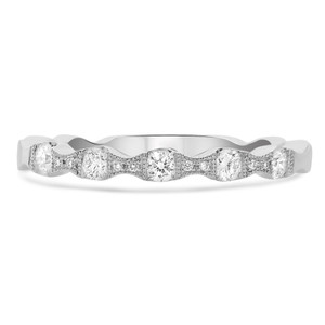 14KT WHITE GOLD WAVY MILGRAIN BAND