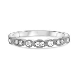 14KT WHITE GOLD MILGRAIN DIAMOND BAND