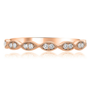 14kt ROSE GOLD MILGRAIN MARQUISE RING