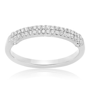 Layered White Diamond Band