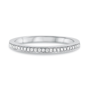 Half Pave White Diamond Wedding Band