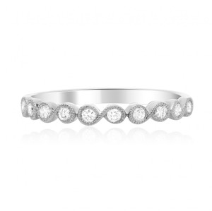 White Gold Milgrain & Diamond Band