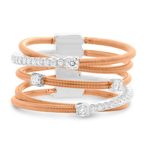 WHITE AND ROSE GOLD OVERLAPPING COIL RING