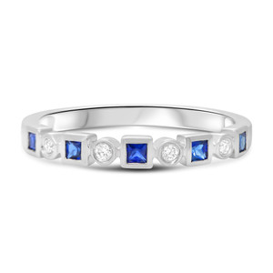 GEOMETRIC DIAMOND AND SAPPHIRE BAND