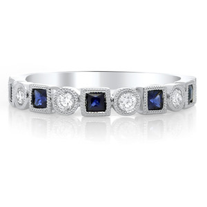 MILGRAIN DIAMOND AND SAPPHIRE RING