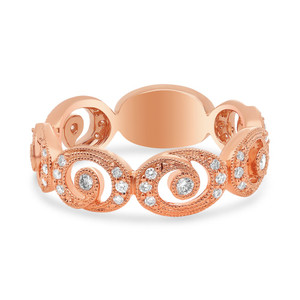 ROSE GOLD SWIRLING MILGRAIN DIAMOND BAND
