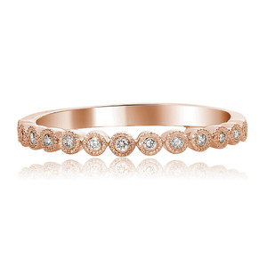ROSE GOLD DIAMOND MILGRAIN BAND