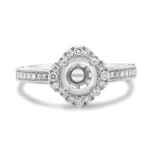 WHITE GOLD QUATREFOIL HALO ENGAGEMENT SETTING