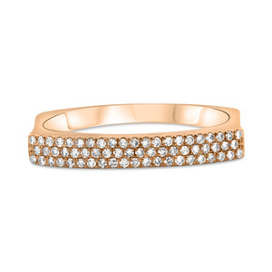 Three Row Indented Diamond Band in Rose Gold