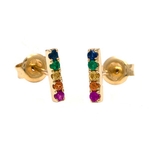 14kt yg rainbow earrings