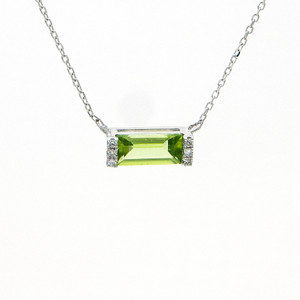 14k White Gold Diamond and Peridot Necklace