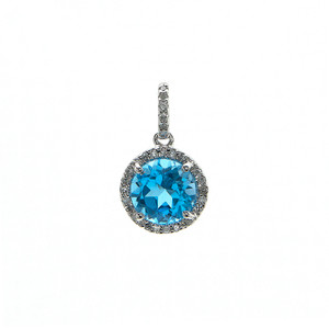 14k White Gold Diamond and Blue Topaz Pendant