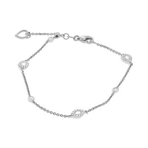 White Gold Diamond Station Chain Bracelet