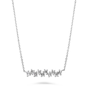 14K WHITE GOLD DIAMOND BAGUETTE NECKLACE