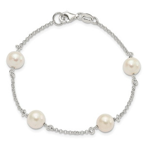 STERLING SILVER AND CULTURED FRESH WATER PEARL BRACELET