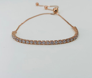 Sterling Silver and Rose Gold Plated Adjustable Bracelet